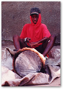 Boy with drum skin